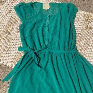 Teal blue green ModCloth flowy dress size medium